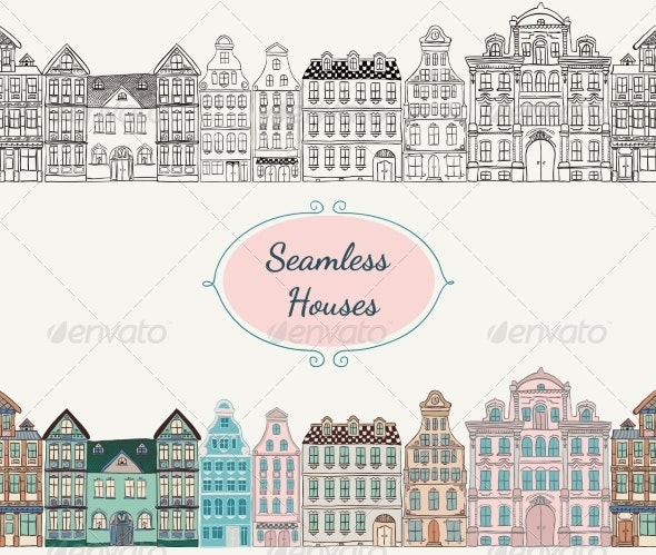 Seamless Old Styled Houses - Buildings Objects