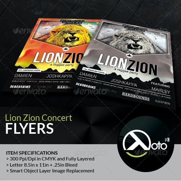 Reggae Lion Zion Concert Flyer
