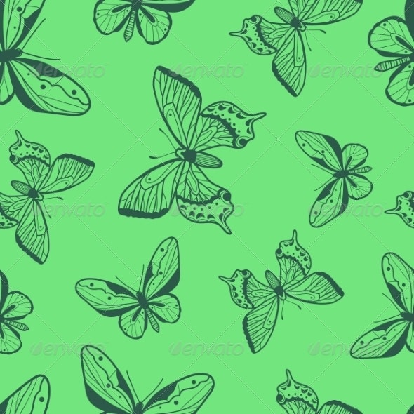 Butterflies Seamless Pattern - Backgrounds Decorative