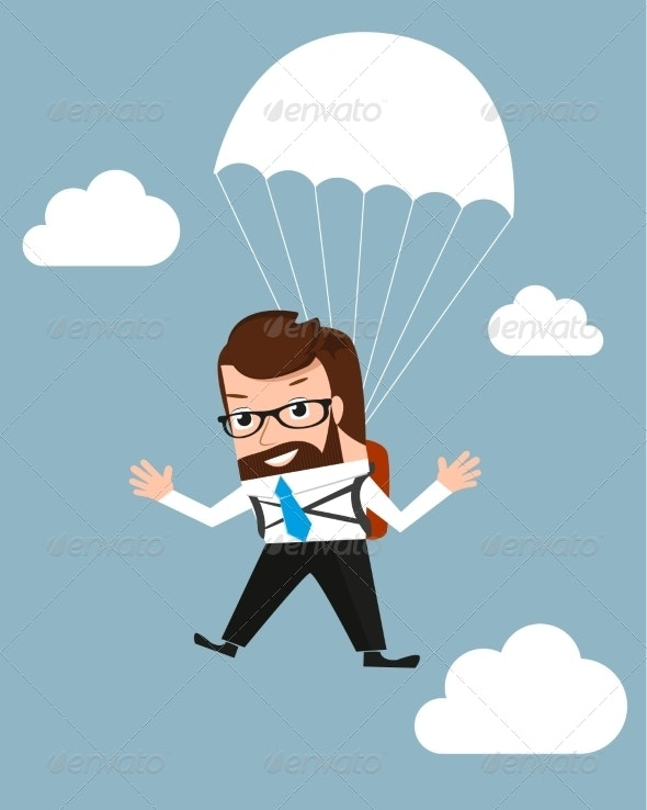 Lucky Businessman is Flying with a Parachute  - Concepts Business