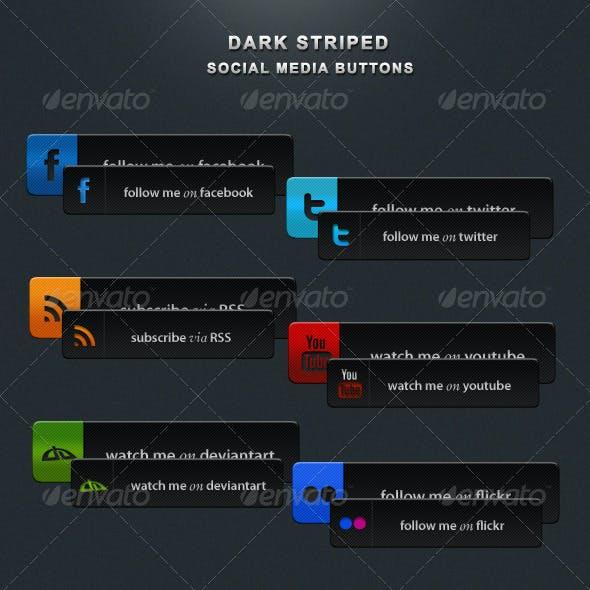 Dark Striped Social Buttons