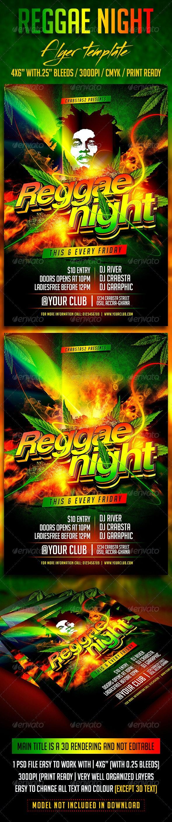 Reggae Night Flyer Template - Flyers Print Templates