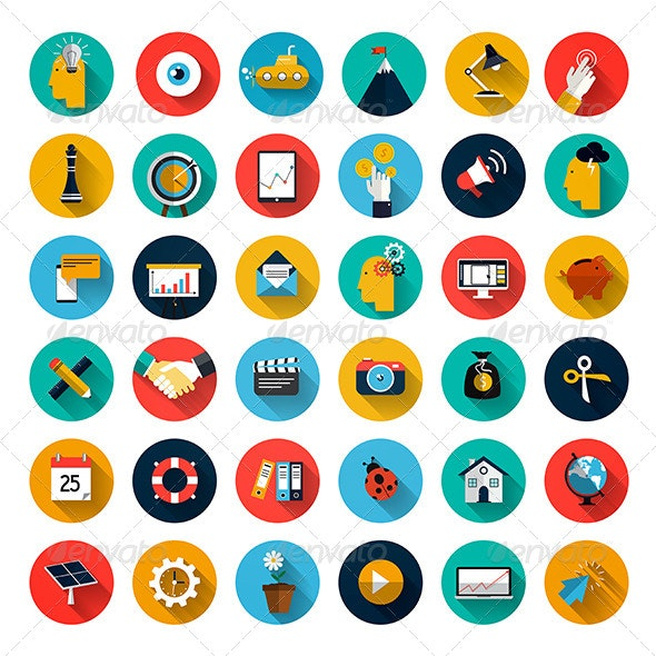 Set of Flat Design Icons - Technology Icons