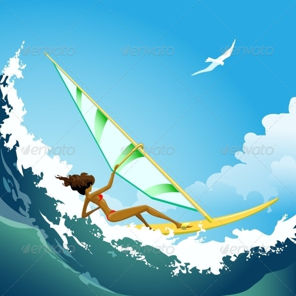 Wind Surfer Girl on a Wave - Sports/Activity Conceptual
