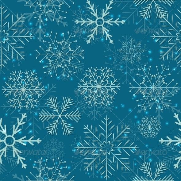 Seamless Snowflakes Background - Christmas Seasons/Holidays