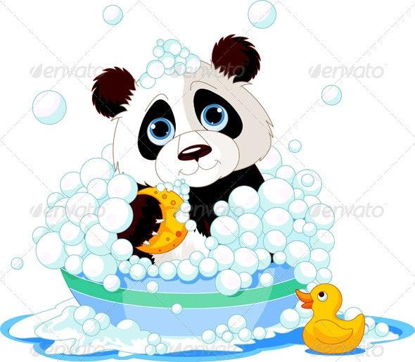 Panda having a Bath - Animals Characters