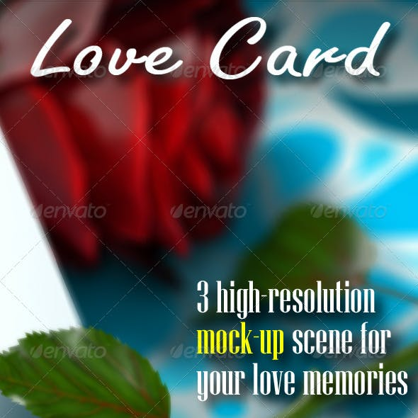 Love Card with Roses Mock-Up