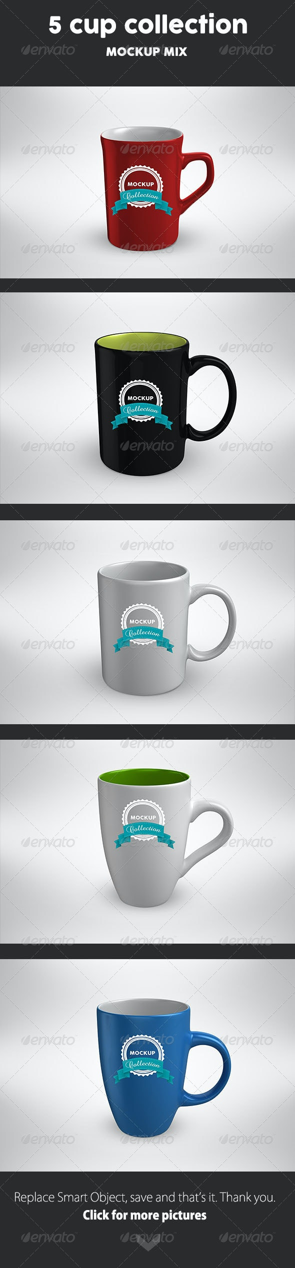 5 Cup MockUp mix - Food and Drink Packaging