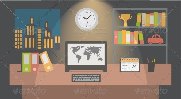 Office Workspace Interior Nighttime - Concepts Business