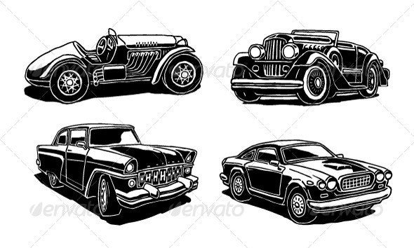 Retro Cars Set - Man-made Objects Objects