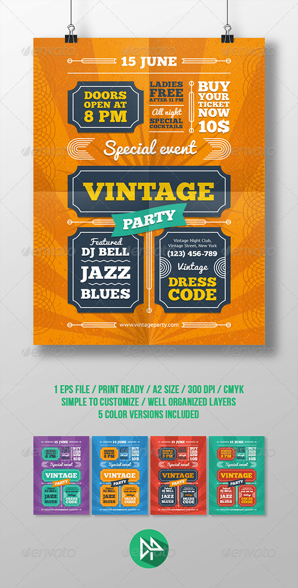 Vintage Party Poster Template - Events Flyers
