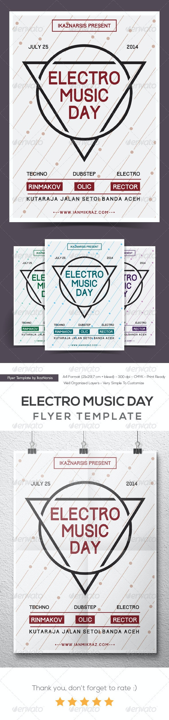Electro Music Day Flyer/Poster - Clubs & Parties Events