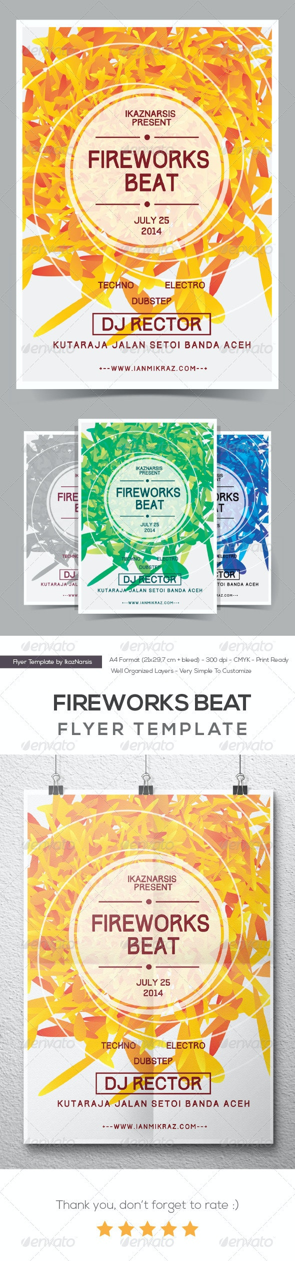 Fireworks Beat Flyer/Poster - Clubs & Parties Events