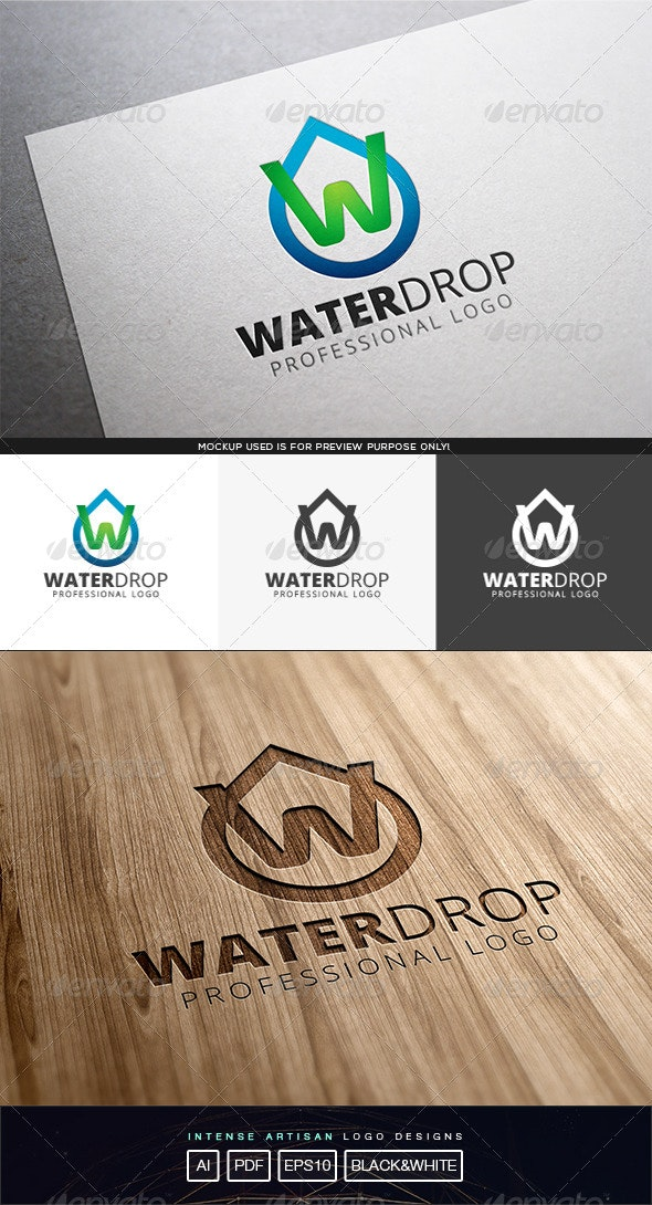Water Drop Logo Template - Letters Logo Templates
