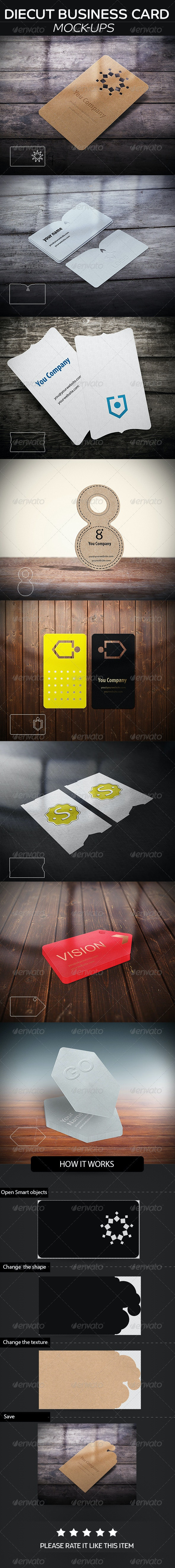 DieCut Business Card  Mockup - Business Cards Print