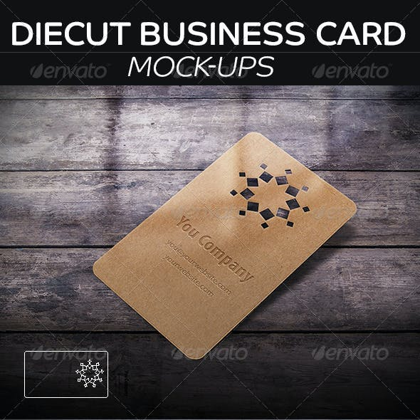 DieCut Business Card  Mockup