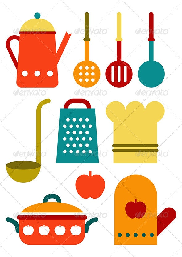 Colorful Kitchen Utensil Set - Food Objects