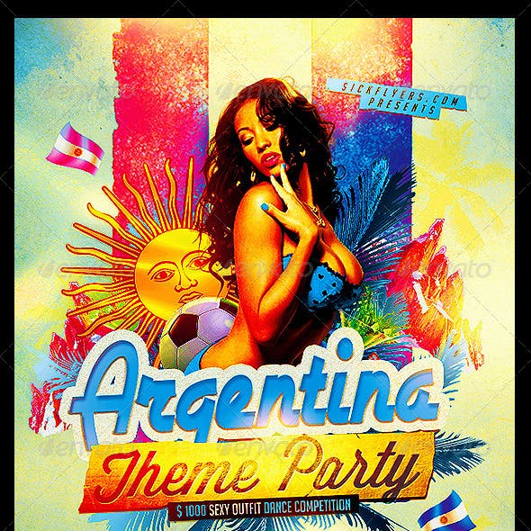 Argentina Themed Party Flyer Template