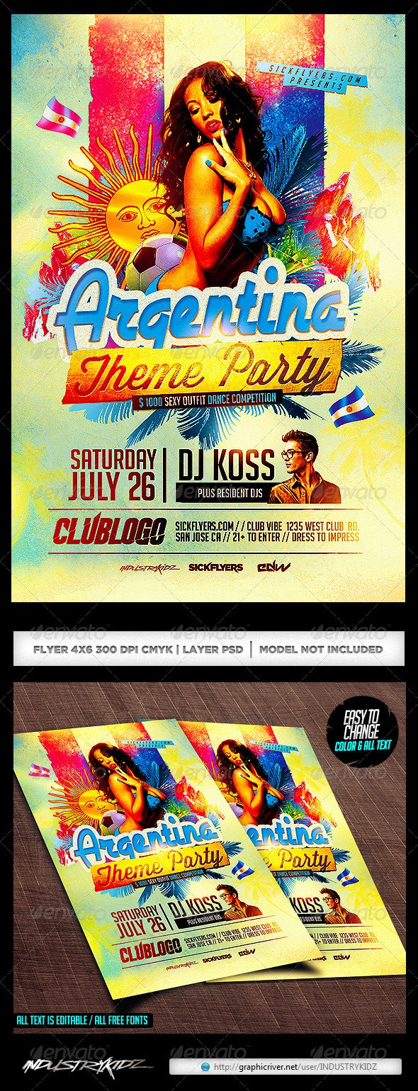 Argentina Themed Party Flyer Template  - Clubs & Parties Events