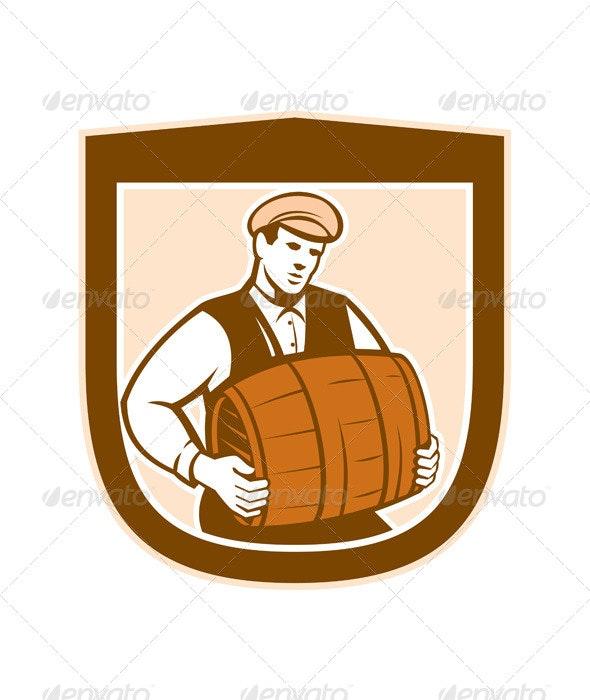 Bartender Carrying Keg Shield - People Characters