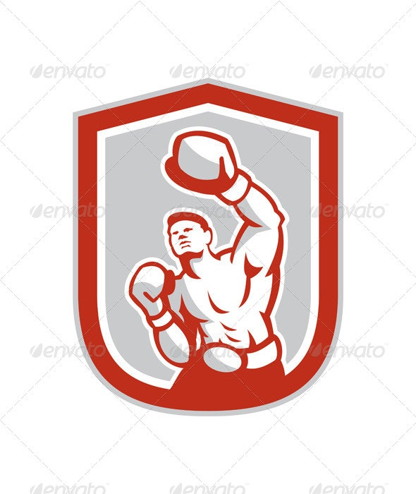 Boxer Boxing Punching in Shield - Sports/Activity Conceptual