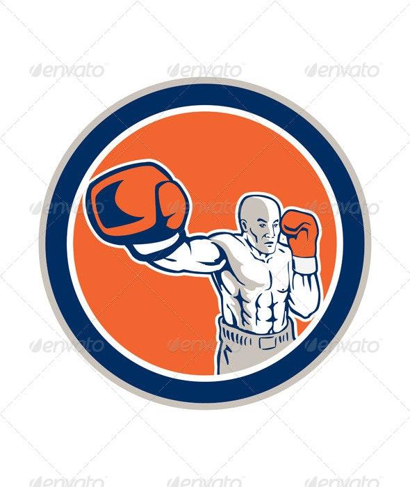 Boxer Boxing Jabbing in Circle - Sports/Activity Conceptual