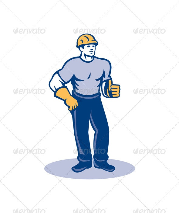 Construction Worker Thumbs Up Retro - People Characters