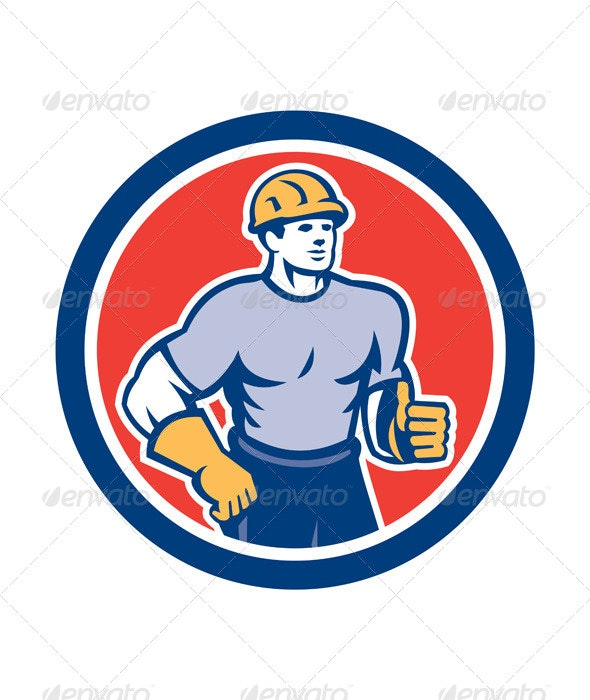 Construction Worker Thumbs Up Circle Retro - People Characters