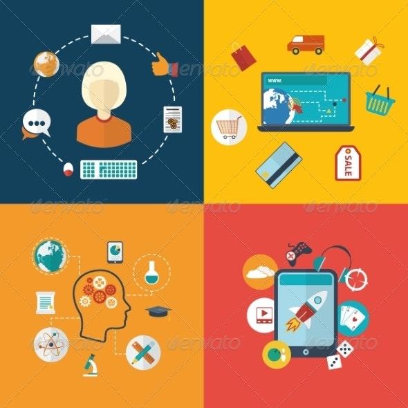 Flat Design Modern Infographic - Communications Technology
