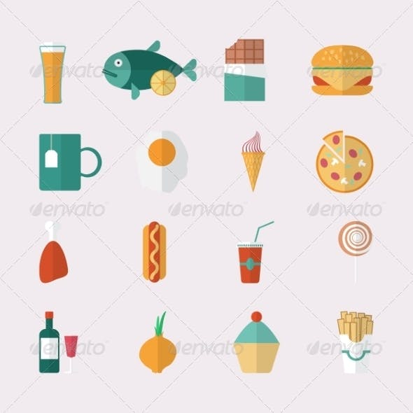 Flat Style Food Icons