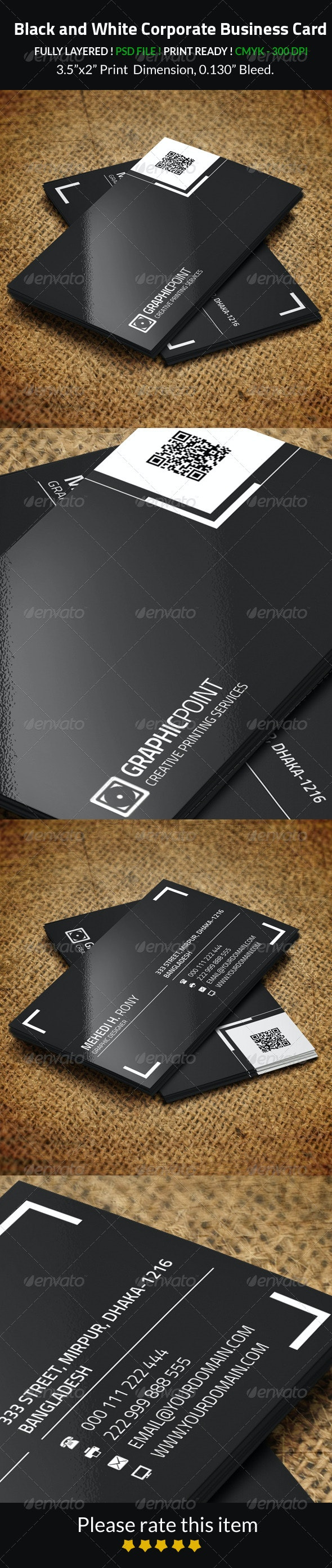 Black and White Corporate Business Card - Corporate Business Cards