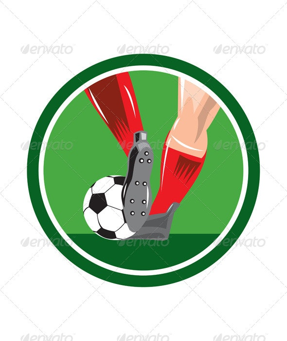 Foot Kicking Soccer Ball Circle - Sports/Activity Conceptual
