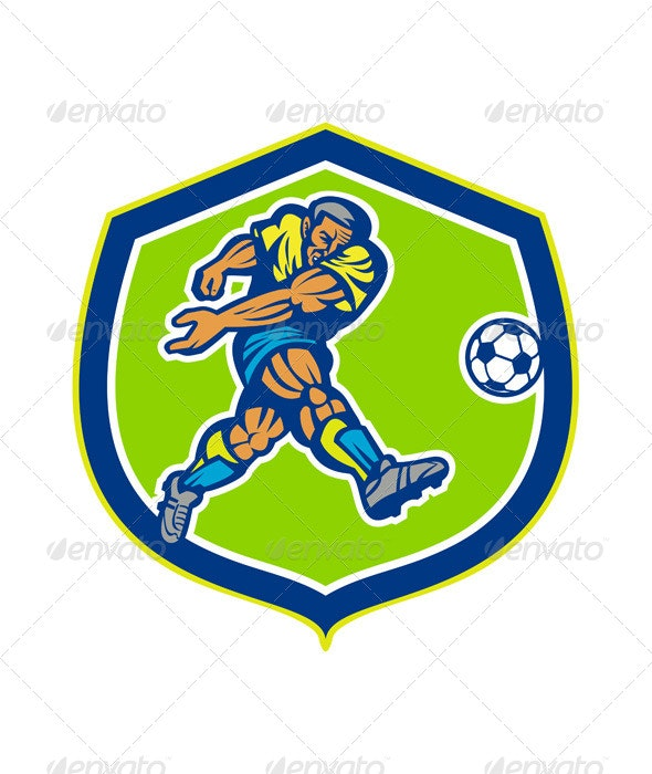 Soccer Football Player Kicking Ball Retro - Sports/Activity Conceptual