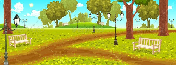 Park with Benches and Street Lamps - Landscapes Nature