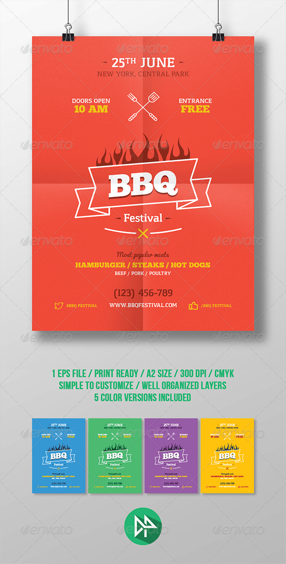 BBQ Party Poster Template - Events Flyers
