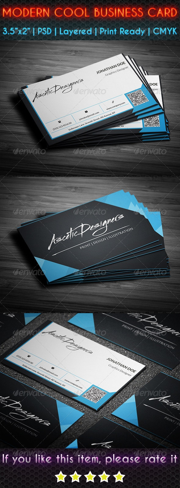 Modern Cool Business Card - Corporate Business Cards