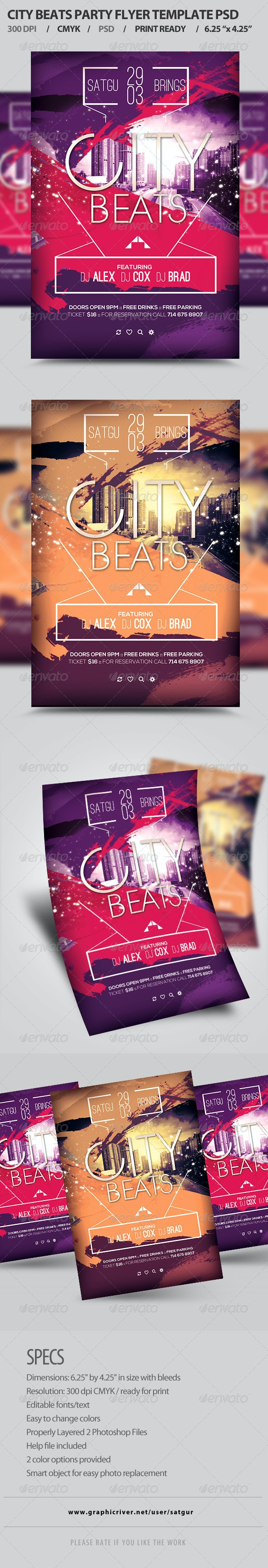 City Beats Party Flyer Template PSD - Clubs & Parties Events
