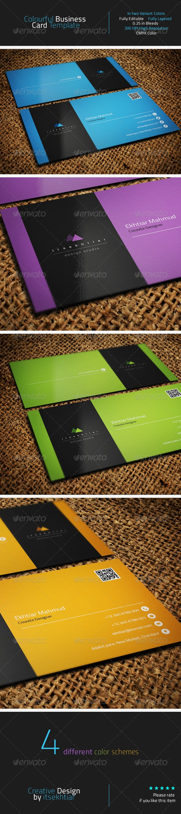 Colourful Business Card Template - Corporate Business Cards