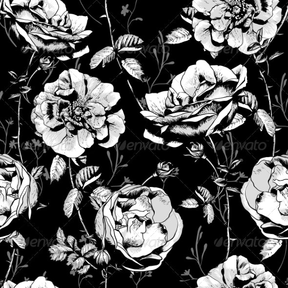 Black and White Floral Seamless Background - Patterns Decorative