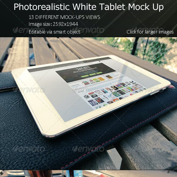 Photorealistic White Tablet Mock Up