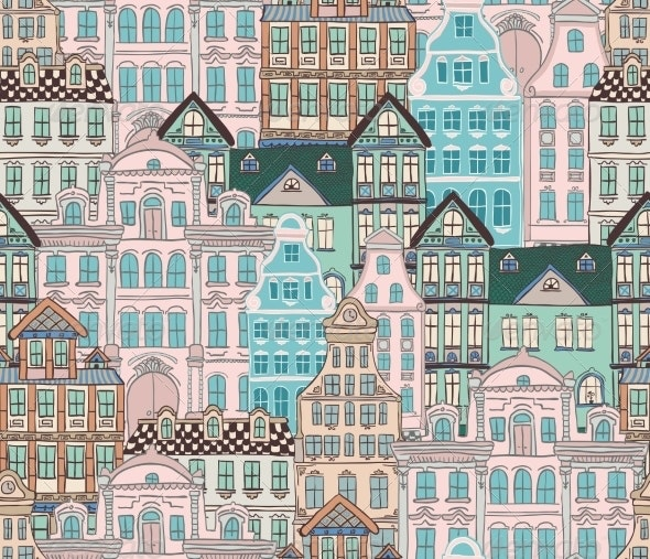 Old Styled Houses Seamless Pattern - Backgrounds Decorative
