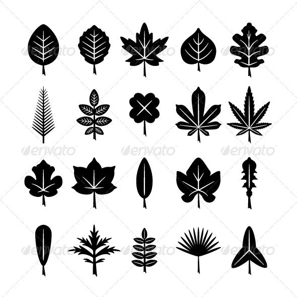 Set Icons of Leaf - Abstract Icons