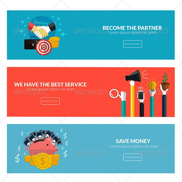 Flat Designed Banners - Concepts Business