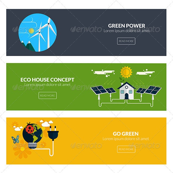 Flat Designed Banners  - Nature Conceptual