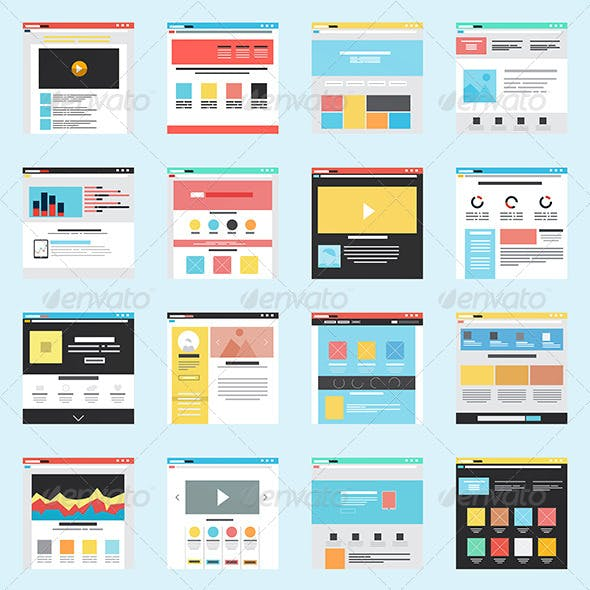 Set of Flat Website Templates
