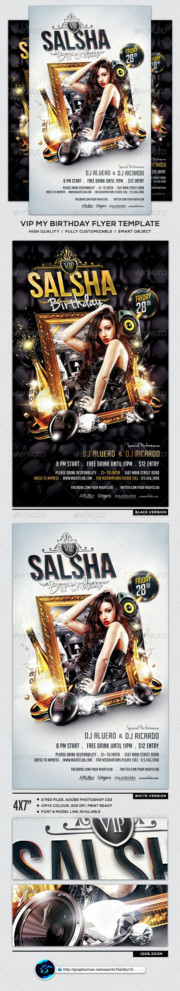 VIP My Birthday Flyer Template - Clubs & Parties Events