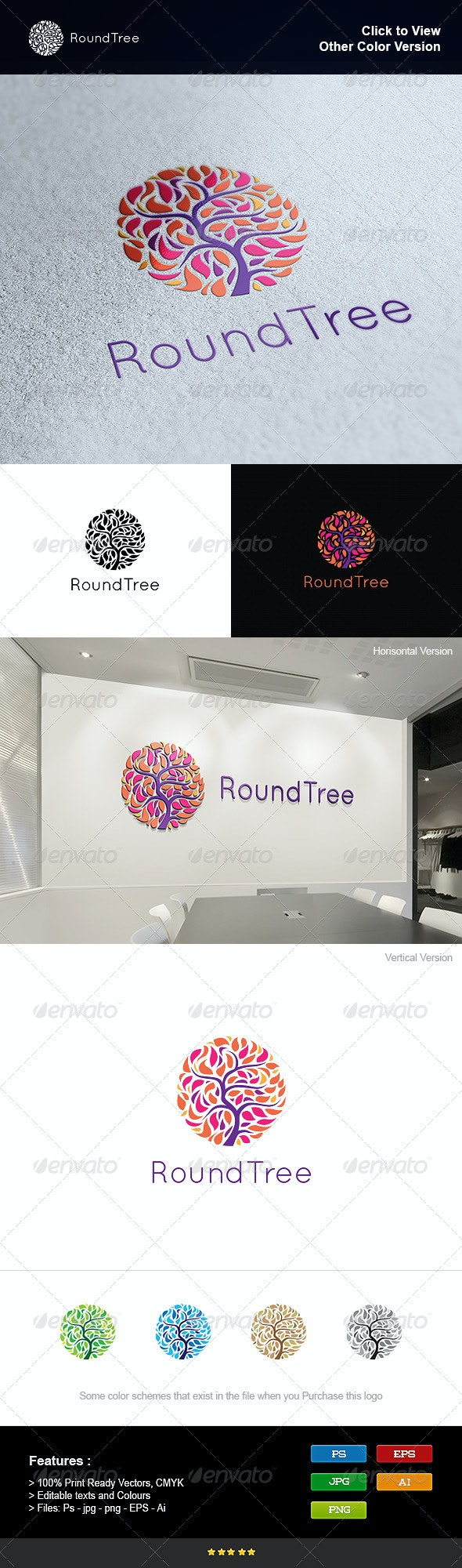 Round Tree - Nature Logo Templates