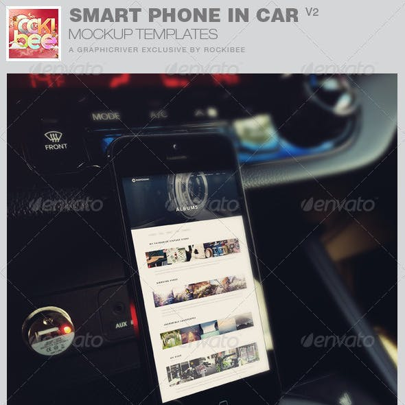 Smart Phone in Car Mockup Templates-V2