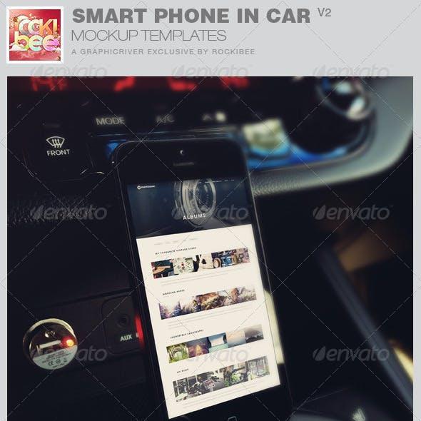 Smart Phone in Car Mockup Templates-V2