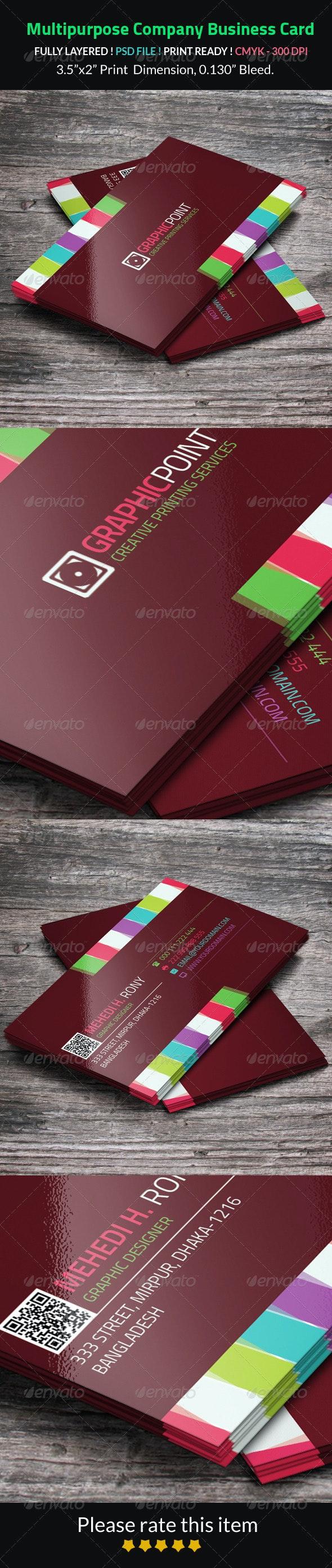 Multipurpose Company Business Card - Corporate Business Cards